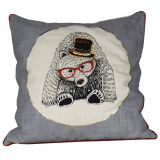 Bear with Glasses Embroidered Cushion Cover