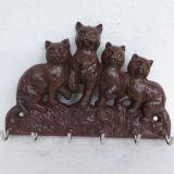 4 Cat Key Rack 21cm Rust