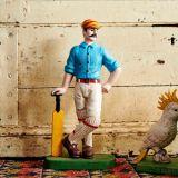 Cricketer Doorstop Blue 33cm