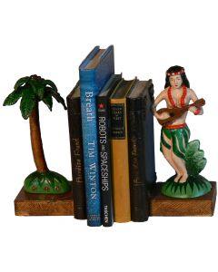 Hula Girl & Palm Tree Bookends